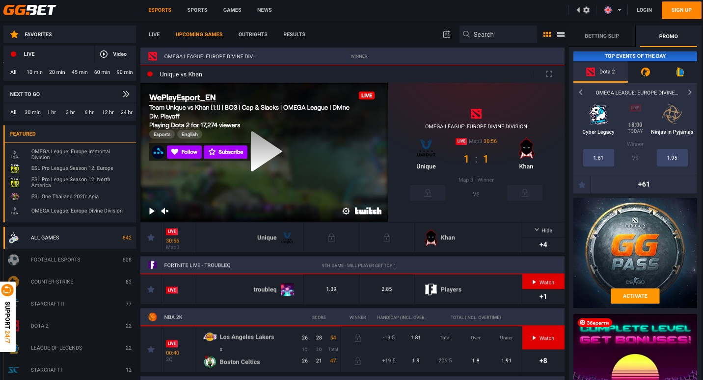 GGbet main page