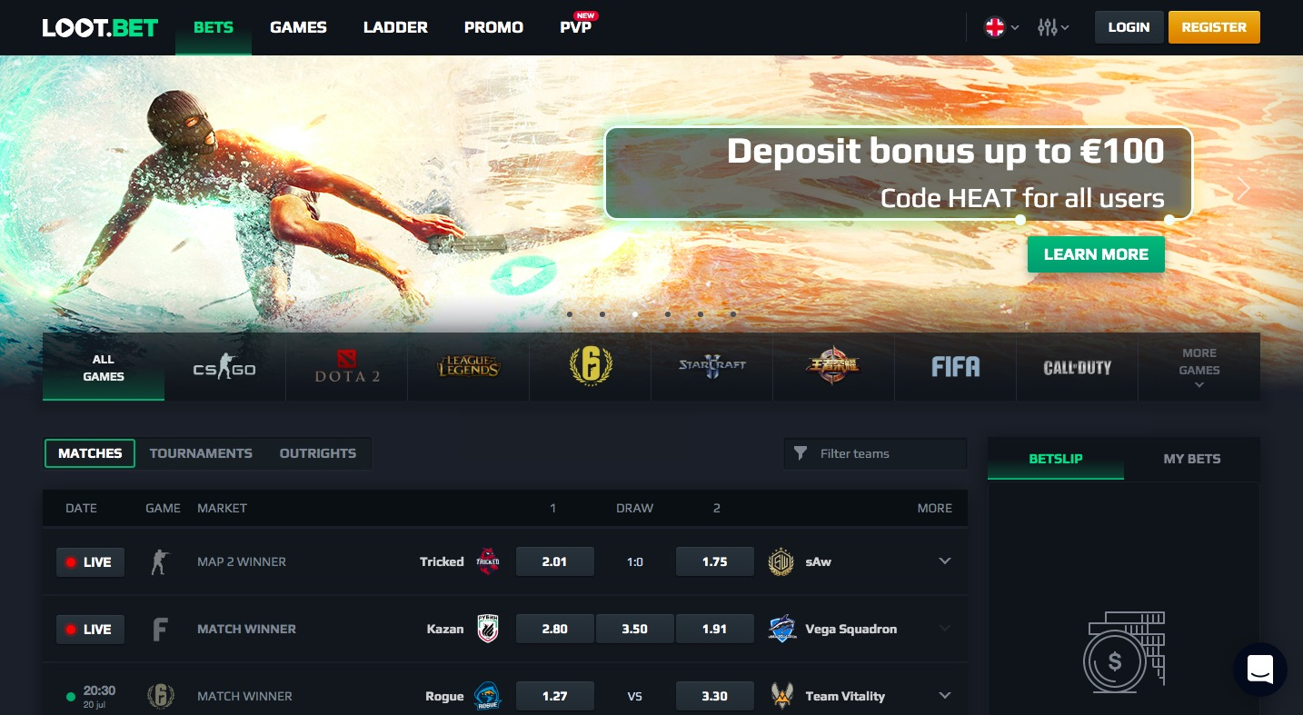 Loot.Bet main page