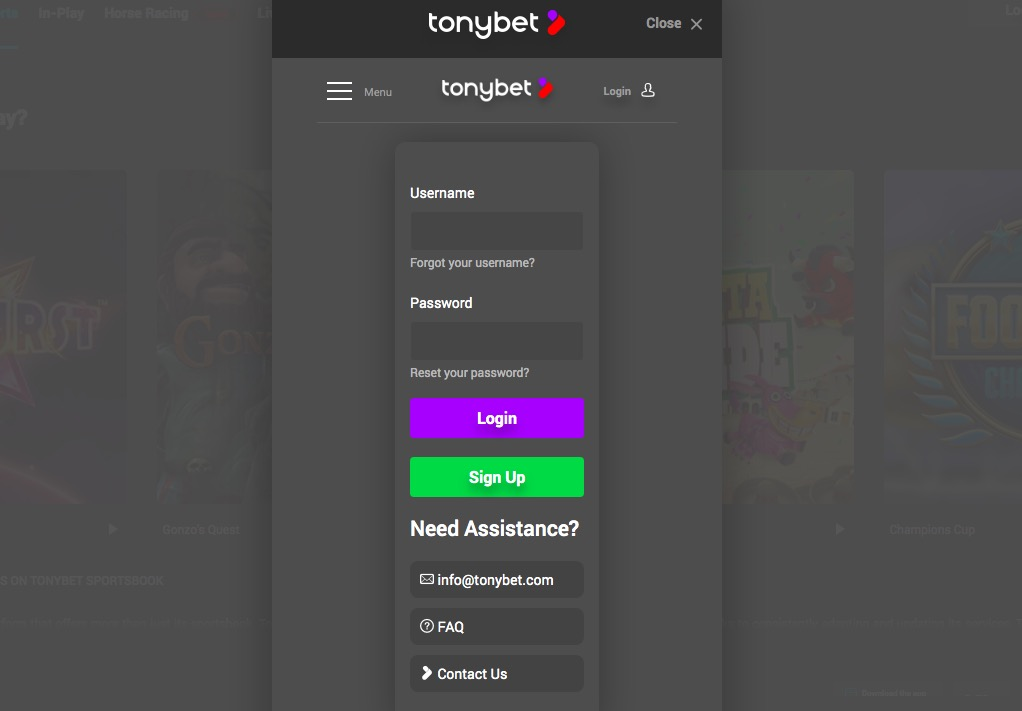 TonyBet registration