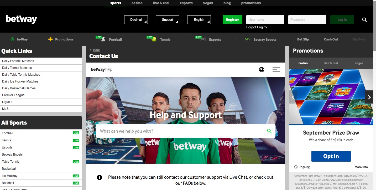 Betway Customer Support