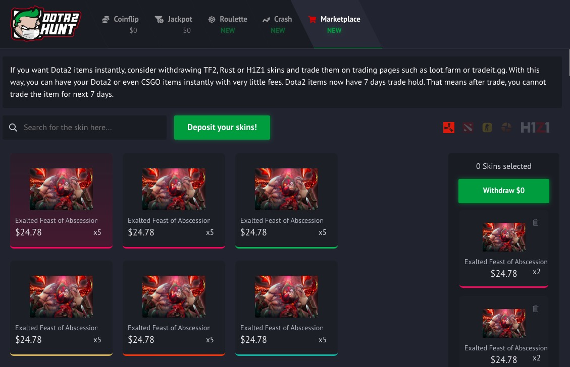 Dota2Hunt marketplace
