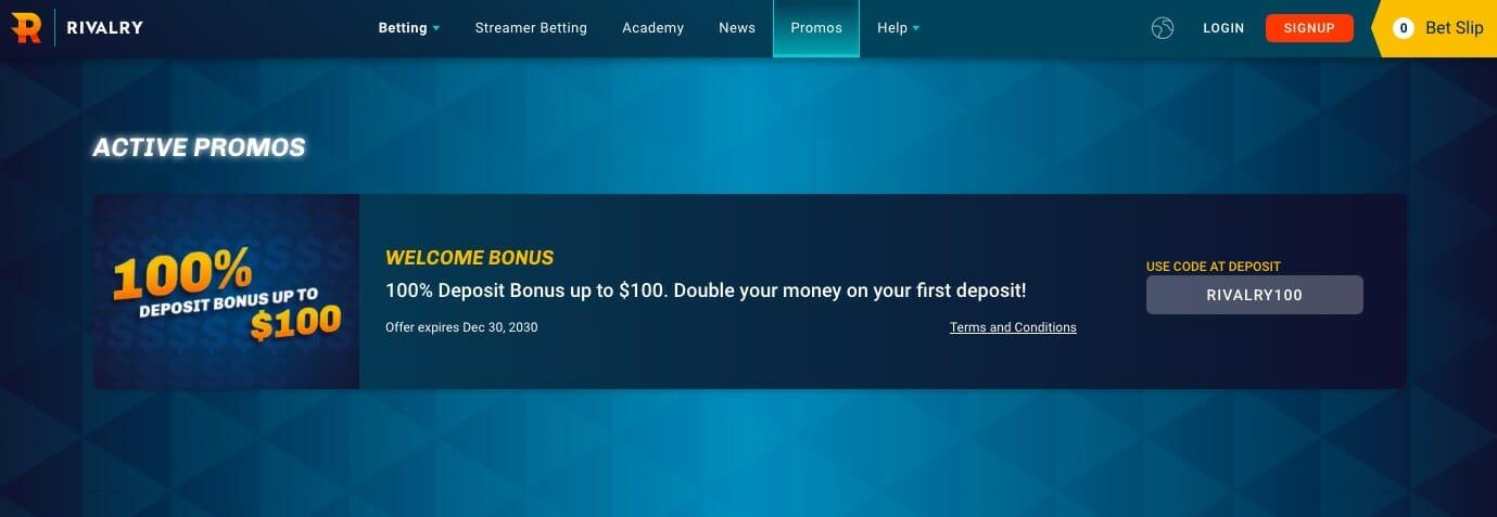 Rivalry welcome bonus